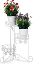 relaxdays plantenrek - plantentafel - etagere - plantentrap - metaal - 3 etages