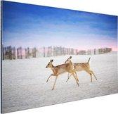 Herten op het strand Aluminium 120x80 cm - Foto print op Aluminium (metaal wanddecoratie)