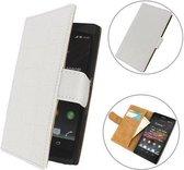 TCC Luxe Hoesje Sony Xperia C Book Case Flip Cover C2305 - Croco Wit