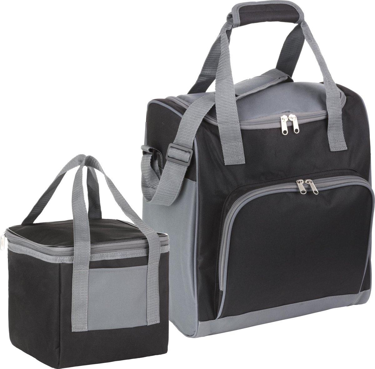 Basis Sterke Koeltas Set   25 + 10 Liter Coolerbag   Zwart