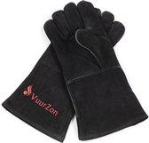 Houtkachel handschoenen per paar zwart.