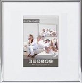 Halfronde Aluminuim Wissellijst - Fotolijst - 40x40 cm - Helder Glas - Hoogglans Zwart - 10 mm