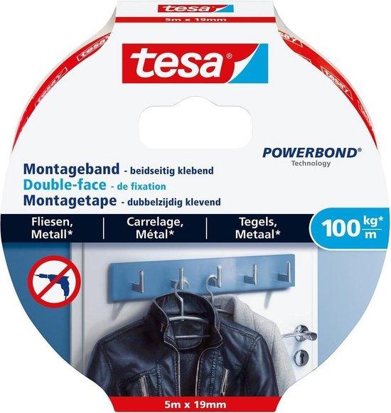 Tesa montagetape dubbelzijdig voor tegels & metaal - 5 m x 19 mm. - Tesa
