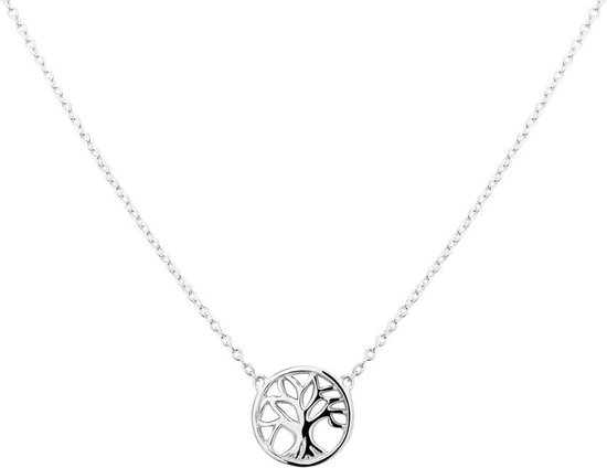 The Fashion Jewelry Collection Ketting Levensboom 41 + 4 cm - Zilver Gerhodineerd