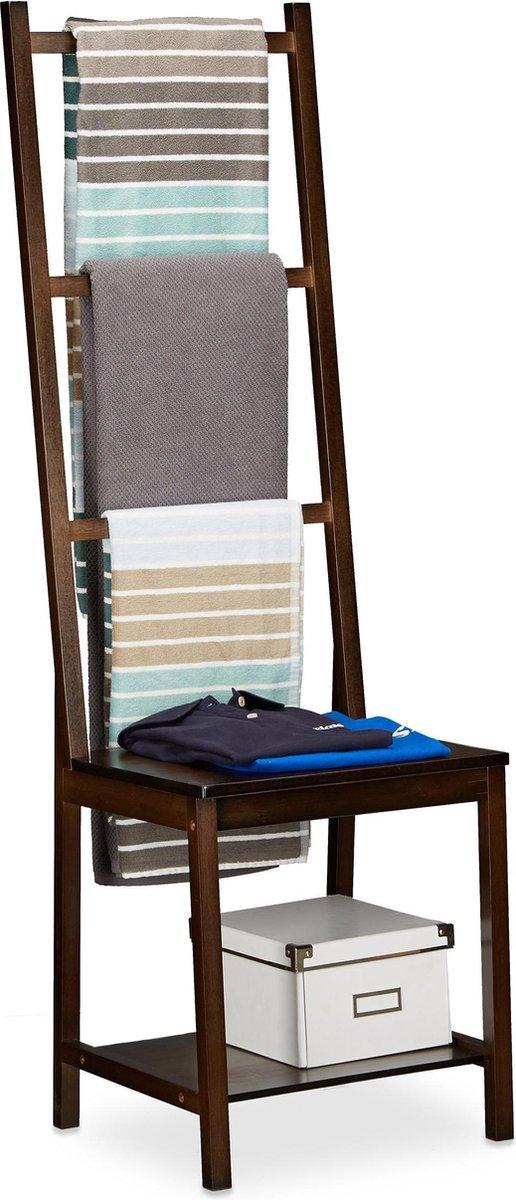 relaxdays handdoekhouder stoel - bamboe - dressboy - 3 stangen - handdoekrek badkamer