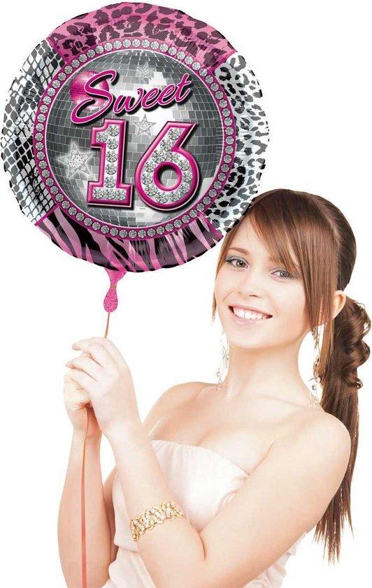 Folat Folieballon Sweet 16 Meisjes 41 Cm Folie Roze/zilver