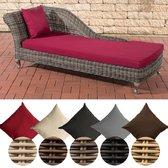 Clp Savannah - Chaise longue - 5 mm Poly-rotan - kleur van rotan grauwgemeleerd - Overtrek robijnrood