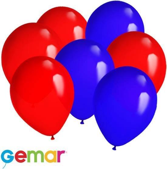 30x Ballonnen Rood en Blauw (Ook geschikt voor Helium)