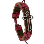 Fako Bijoux® - Armband - Leder - Kruis Open - Rood