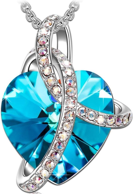 Zilver Ketting 925 Sterling Zilver Blauwe Hartje met Swarovski® Kristal - Lengte 45cm