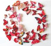 3D Vlinders Muur Sticker / Muurdecoratie - Kinderkamer & Babykamer - Rood