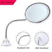 Make-up Spiegel - Met Verlichting - 10x Vergroting - LED - 360° Draaibaar - Mis Geen Haar - Met Zuignap - Make-up Licht - Klein - Wit - Vanli