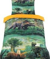 Dekbedovertrek -Dinosaurussen Multi Kleur - Eenpersoons - -140 x 220-cm + 1 kussensloop 60x70cm