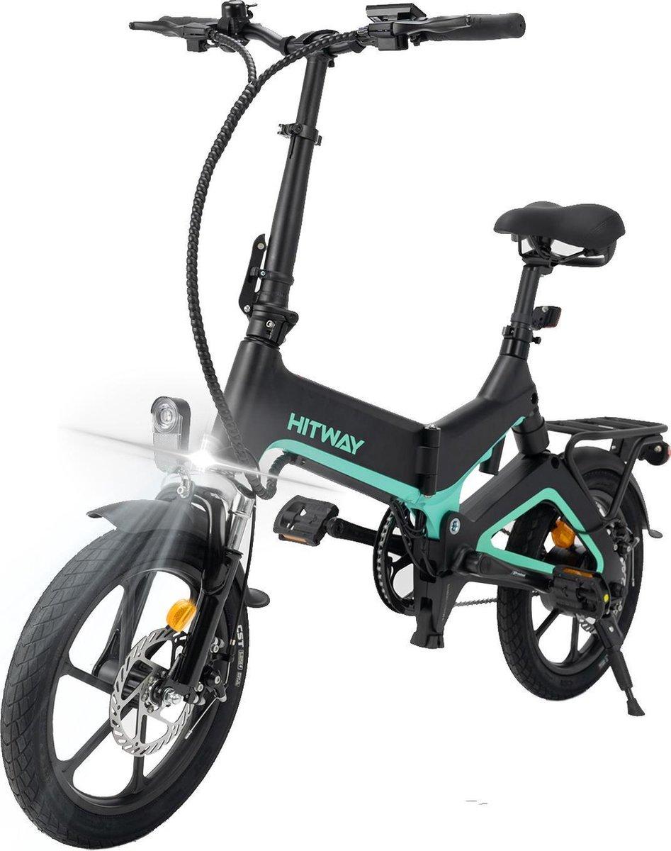 "Hitway 14F005 Elektrische Fiets E-bike   Opvouwbaar   250W Motor   7.5Ah   16""   Zwart / Groen"