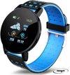 Stappenteller - Calorieënmeter - Hartslagmeter - Zuurstofmeter - Sport horloge - Bloeddrukmeter - Afstandmeter - Zwart/Blauw - Smart Bracelet - IOS & Android - Voor Heren en Dames