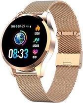 Belesy® Q9 - model 2021 - Smartwatch Dames - Smartwatch Heren - Horloge - Stappenteller - Hartslag - Calorieën - 1.3 inch - Kleurenscherm - 10x Sporten - INDOOR en OUTDOOR - Milanees staal - Rosegoud