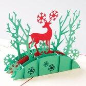 3D pop up kerstkaart met Kerst Hert Merry Christmas pop-up wenskaart - Voordeelpakket