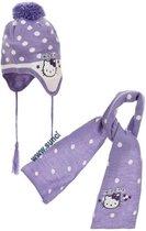 Hello Kitty - Winterset - Muts & Sjaal - Violet - Hoofdomtrek: 48 cm - 100% Acryl
