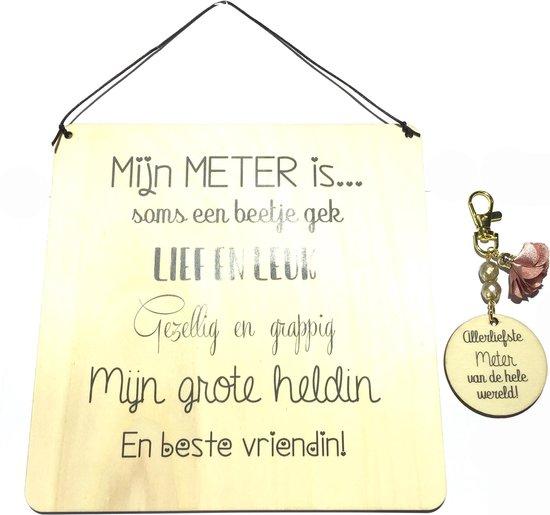 Sleutelhanger en tekstbord Mijn METER is....? | liefste meter | roze |meter vragen | meter worden | liefste meter