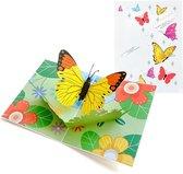 Pop-up kaart - Gelukskaart vlinder op bloemen felicitatie vrijheid uitnodiging pop-up wenskaart