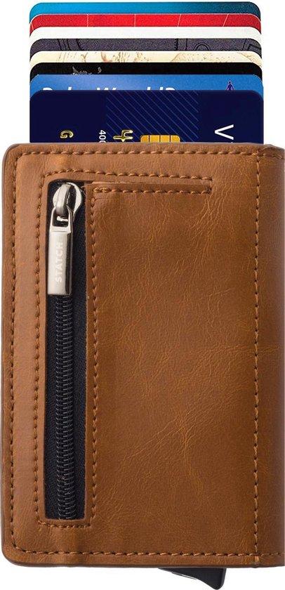 Statch Portemonnee Luxe Uitschuifbare Pasjeshouder van Aluminium & Leer  - Creditcardhouder / Kaarthouder  voor mannen en vrouwen - Anti-Skim / RFID Card Protector  7 tot 8 Pasjes - Bruin