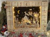 Houten Kerst Adventskalender met verlichting | Kerst | Kerstkalender | Cadeau | Feestdagen | Aftellen | Aftelkalender Met Kersttafereel | Kerst Accesoire