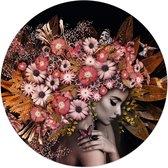 Bloemenrijkdom Vrouw - Vlinder - Boeket - Romantisch  - Glasschilderij rond Glas - Diameter 70 cm