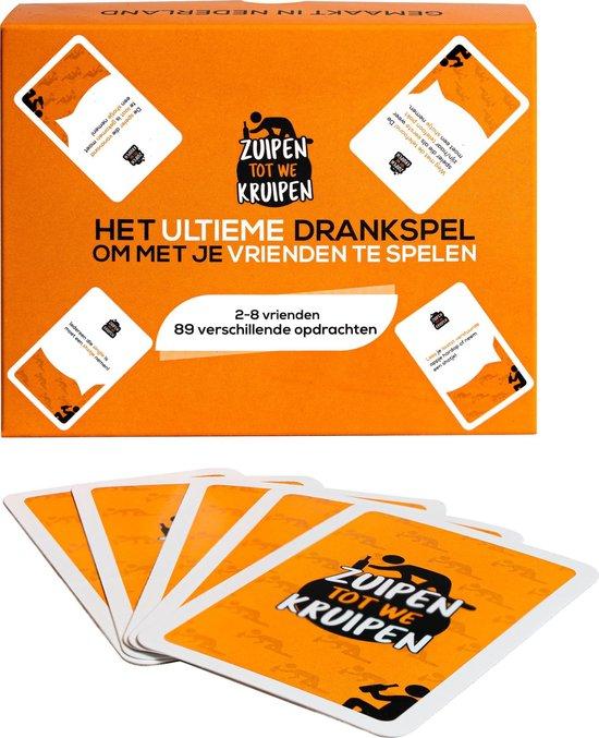 Zuipen tot we kruipen® – Drankspel + 3 gratis shotglazen – 89 opdrachten – kaartspel – speelkaarten
