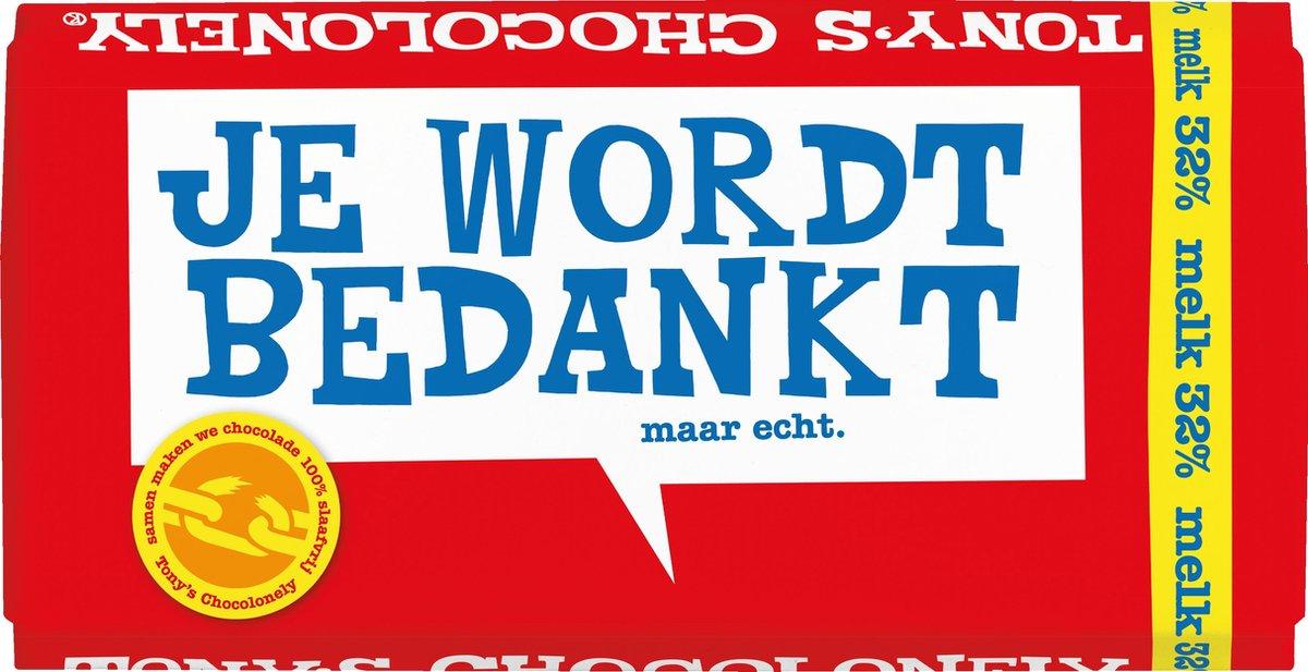 """Tony's Chocolonely Melk - Zeg 't met een reep """"Bedankt""""- Chocoladereep  - 180 gram"""
