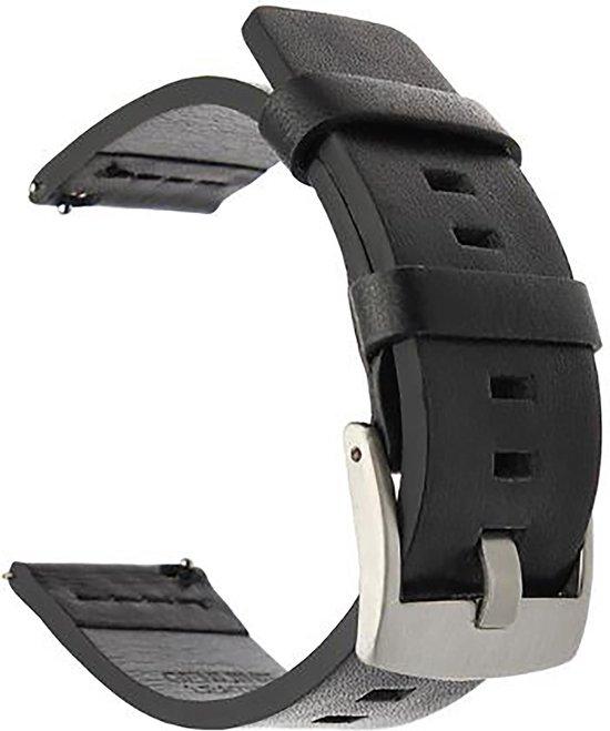 Horlogeband van Leer voor Shinola   20 mm   Horloge Band - Horlogebandjes   Zwart met Zilveren Gesp