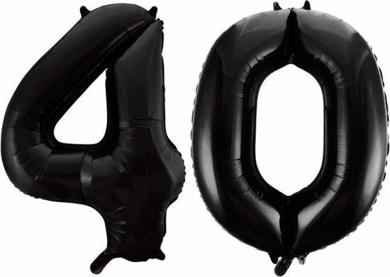 Folieballon 40 jaar zwart 86cm