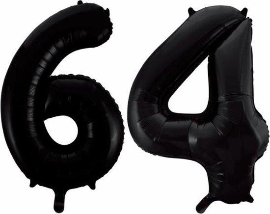 Folieballon 64 jaar zwart 86cm
