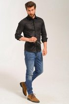 Superbey blouse heren - slim fit - zwart - small