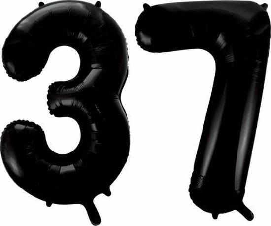 Folieballon 37 jaar zwart 41cm
