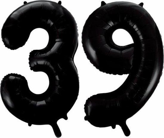 Folieballon 39 jaar zwart 41cm