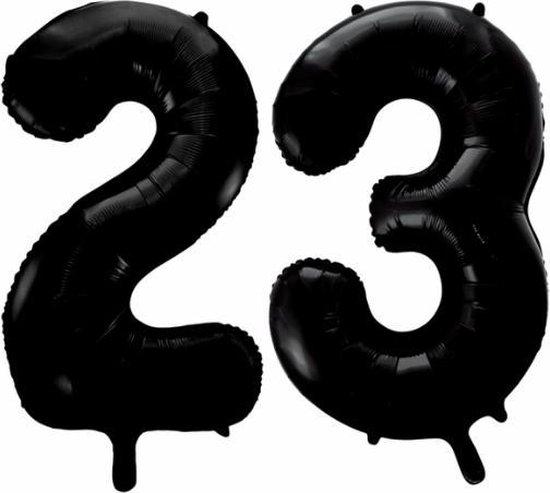 Folieballon 23 jaar zwart 86cm