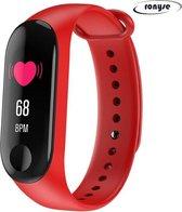 Stappenteller Rood - Calorieënmeter - Hartslagmeter - Sport horloge - Bloeddrukmeter - Afstandmeter - Smart Bracelet - IOS & Android - Voor Heren en Dames