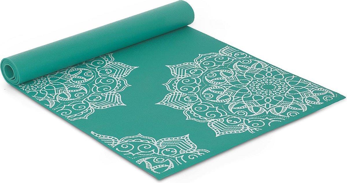 Fit Nine Yoga Mat Met Mandala Print - 176 x 61 x 0.4 - Sportmat Met Draagkoord - Yogamat voor Sport