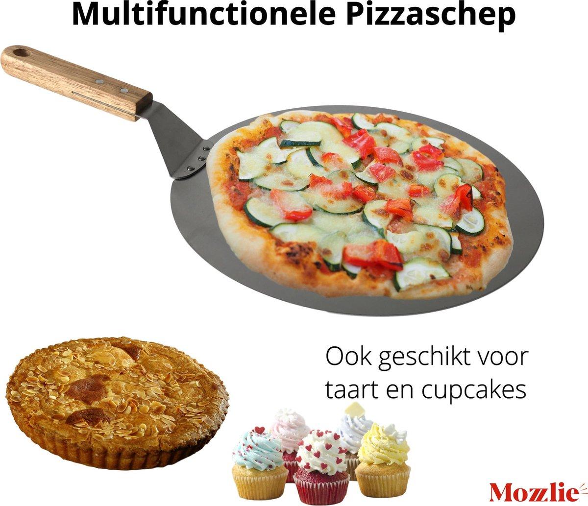 Pizzaschep 30 cm voor oven of BBQ - rond - RVS - met houten handvat