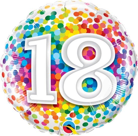 Folie cadeau sturen helium gevulde ballon 18 jaar confetti 45 cm - Folieballon verjaardag versturen/verzenden