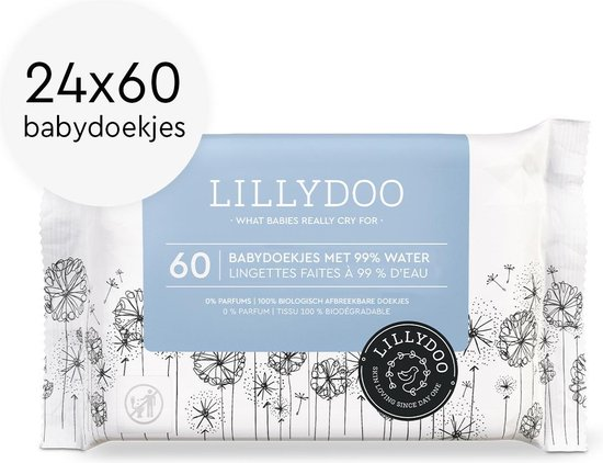 LILLYDOO Babydoekjes met 99% water - 1440 billendoekjes (24x60)