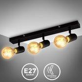 B.K. Licht - Plafondlamp - plafoniere - zwart - retro - industrieel - spots verlichting - draaibaar - excl. E27