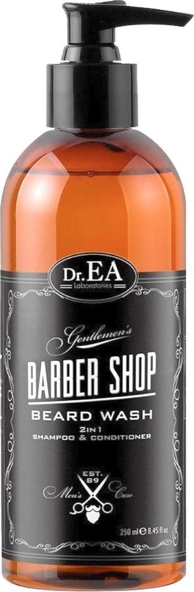 Dr EA Laboratories | Barber Shop | Beard Wash | Baardverzorging | Baard | Shampoo en Conditioner | 2 in 1 | Parabenen en SLS Vrij | Pomp | Wit | 250 ML