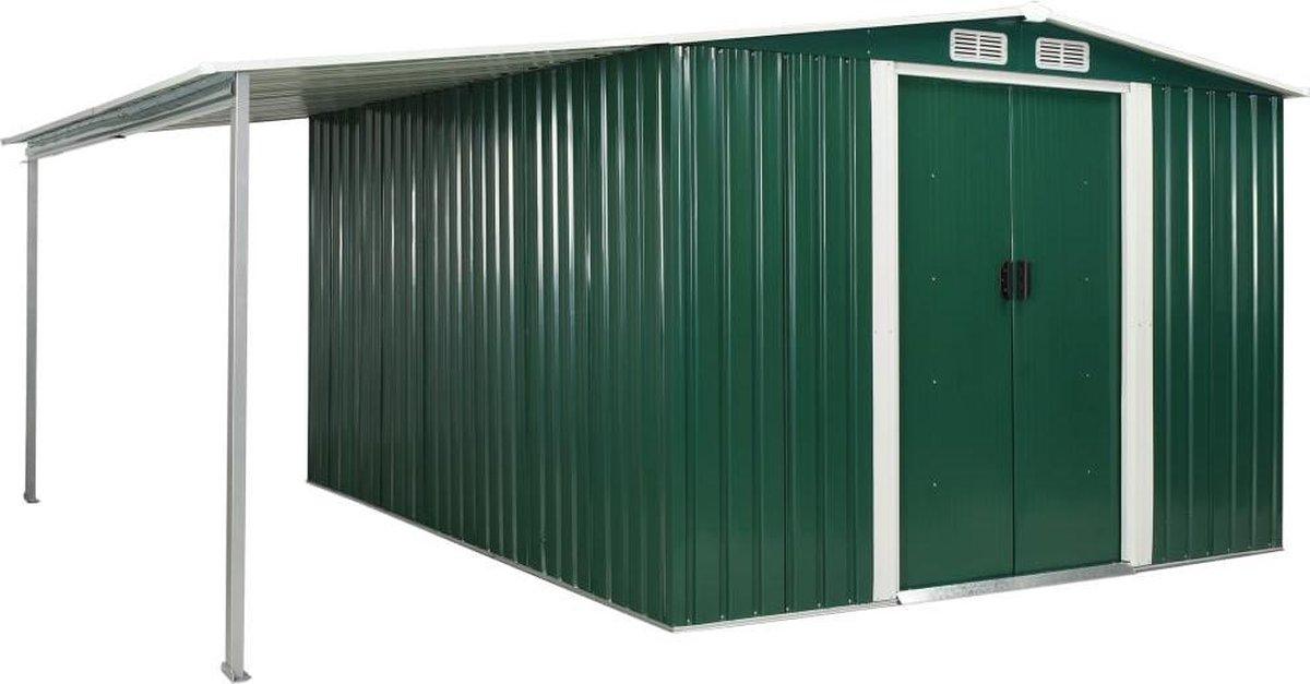 VidaXL Tuinschuur met schuifdeuren 386x312x178 cm staal groen VDXL_144033 online kopen