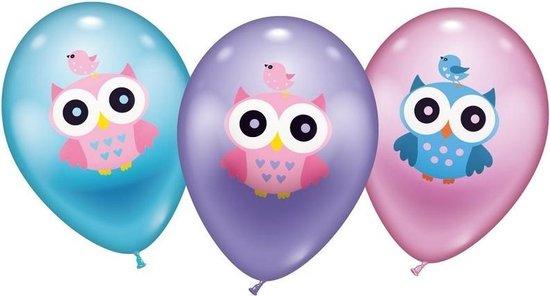 12x stuks Uilen thema ballonnen 28 cm - Dieren vogels versieringen en feestartikelen