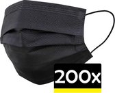 Mondkapje Zwart Wegwerp - Mondmasker Wegwerp - Mondkapje Wegwerp Zwart - Mondkapjes Wegwerp Zwart - 200 Stuks