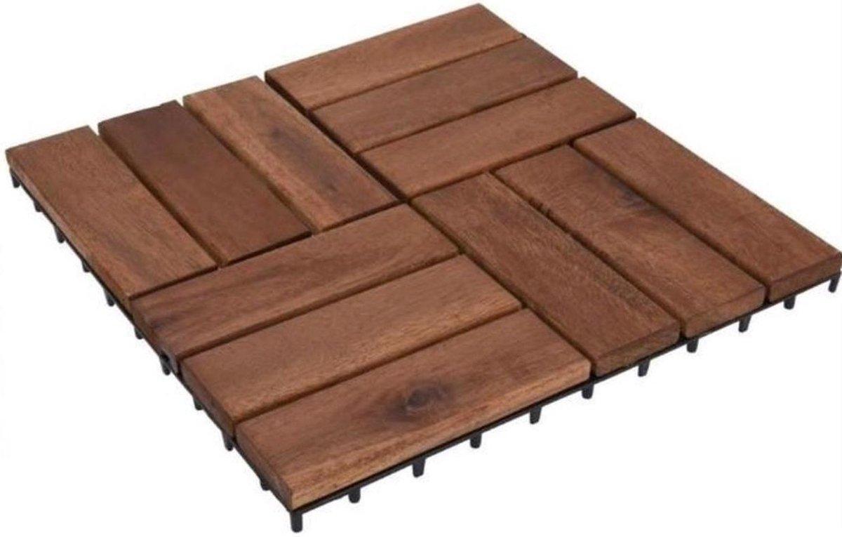 Terrastegels acaciahout moza k set 9 stuks - 30x30cm - tuintegels