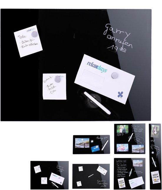 Afbeelding van relaxdays glassboard zwart - memobord - magneetbord - magnetisch prikbord - beschrijfbaar 100 x 60 cm