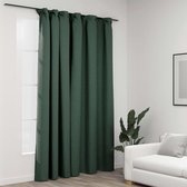 Gordijnen groen 290x245cm (Incl LW led klok) - gordijn raambekleding - gordijnen kant en klaar met haakjes ringen - Verduisterende gordijnen met ringen