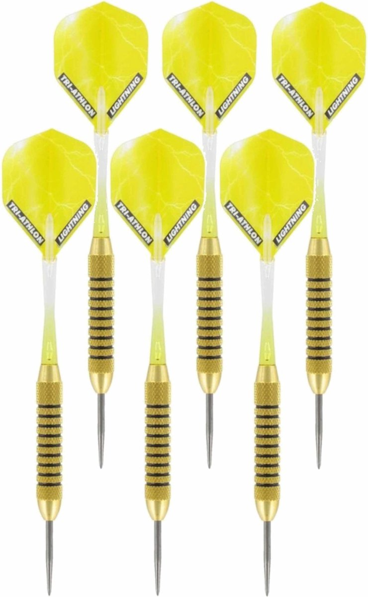 3x Set van 3 dartpijlen Speedy Yellow Brass 21 grams - Darten/darts sport artikelen pijltjes messing
